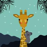 Cute giraffe and koala bear colored looking straight at you. Vector illustration. Mondern design. - 177225438