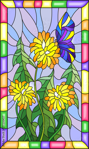 illustration-in-stained-glass-style-flower-of-taraxacum-and-butterfly-on-a-blue-background-in-a-bright-frame