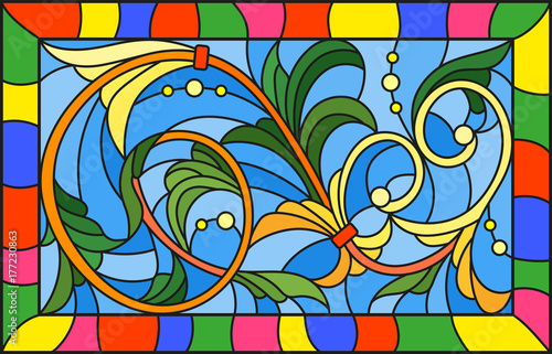 illustration-in-stained-glass-style-with-abstract-swirls-and-leaves-on-a-blue-background-horizontal-orientation