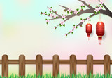 Red lantern hanging on branch of cherry blossom. nature background, paper cut, paper art illustration - 177231082
