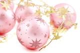 Christmas balls, pink on white background. - 177243853