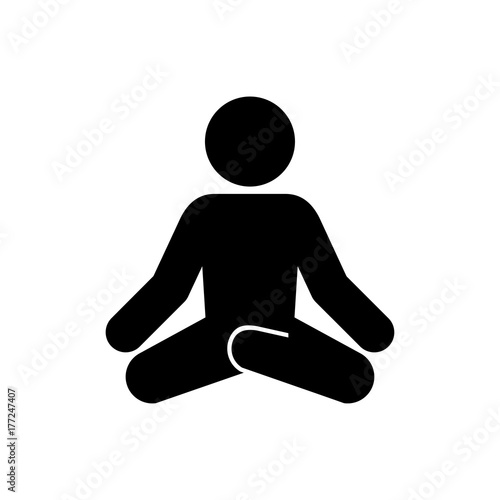 Wall mural Icono plano hombre postura yoga negro en fondo blanco