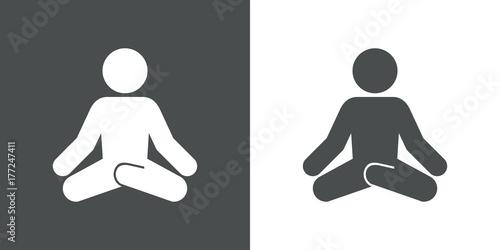 Icono plano hombre postura yoga gris y blanco