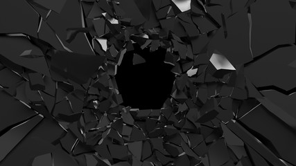 Abstract 3d rendering of shattered black surface. destructed wall.