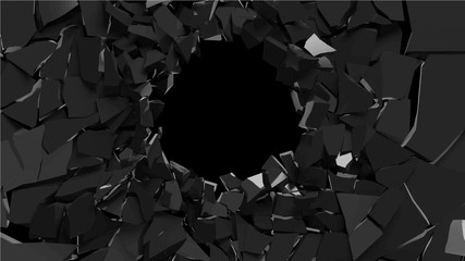 Abstract 3d rendering of shattered black surface. destructed wall. vector format