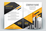 Brochure Cover Layout with yellow and black triangle , A4 Size Vector Template