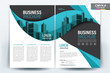 Brochure Cover Layout with Blue and Black wavy , A4 Size Vector Template