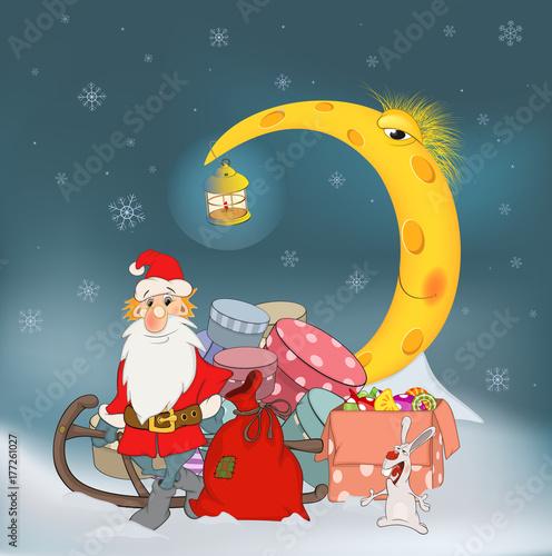 Fotobehang Babykamer Cartoon Illustration. Santa Claus his friends and Christmas gifts. Cartoon
