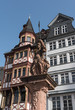 the minervabrunnen in front of the half-timbered houses on Roemerberg in Frankfurt, Germany