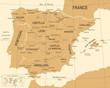 Spain Map - Vintage Vector Illustration
