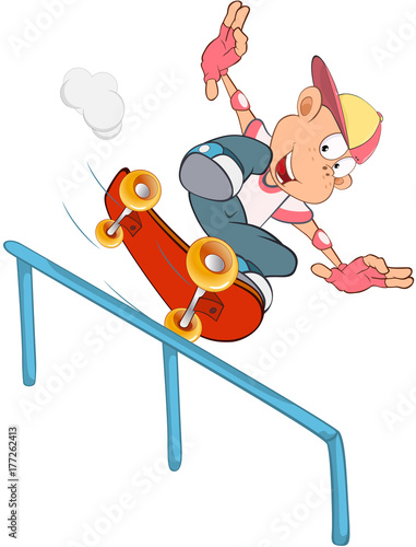 Fotobehang Babykamer Illustration of Cute Little Boy. Skateboarding