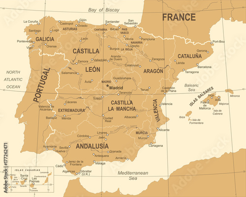 Spain Map - Vintage Vector Illustration