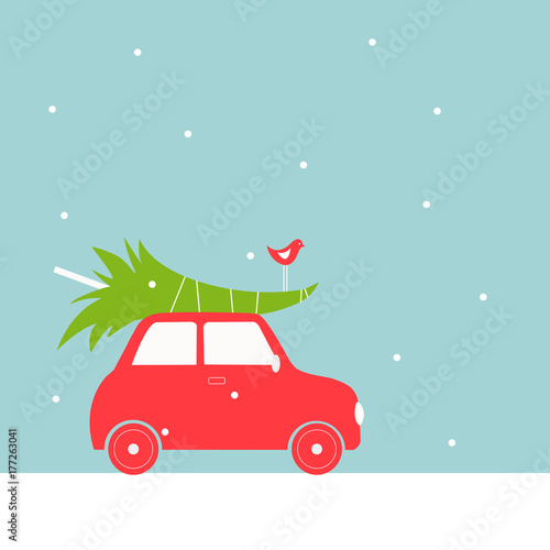 Fotobehang Auto Christmas card with car.Vector illustration.
