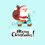 Santa Claus on a motorcycle with gifts in a bag. Cartoon vector illustration.Merry Christmas! - 177265073