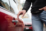 Close up portrait of a male hand at the car handle outdoors - 177267001