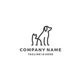 minimalist monoline lineart outline dog cat icon logo template vector illustration - 177268611