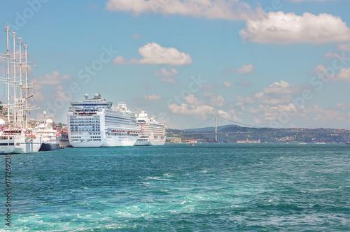 Passenger ships on the coast of Turkey Poster