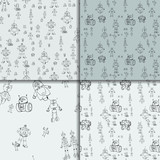 Robot Doodles Pattern Set Wall Sticker
