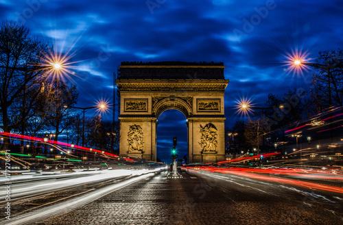 Arc de triomphe by night, Paris Poster