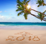 New Year 2018 written on sandy beach. - 177273010