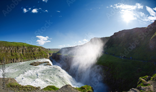 famous Gullfoss waterfall in southern Iceland. treking in Iceland. Travel and landscape photography concept - 177273068