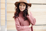 Portrait of fashionably dressed woman in autumn hat. Beauty concept - 177275489