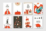 Hand drawn vector abstract fun Merry Christmas time cartoon cards collection set with cute illustrations,surprise gift boxes ,Christmas tree and modern calligraphy isolated on white background - 177276210
