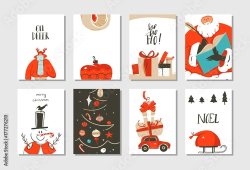 Fotobehang Hipster Hert Hand drawn vector abstract fun Merry Christmas time cartoon cards collection set with cute illustrations,surprise gift boxes ,Christmas tree and modern calligraphy isolated on white background