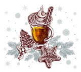 Warming drink with cinnamon sticks and gingerbread on spruce branches. Template for Christmas greeting cards, invitations, posters, flyers. Hand-drawn vector illustration. - 177276897