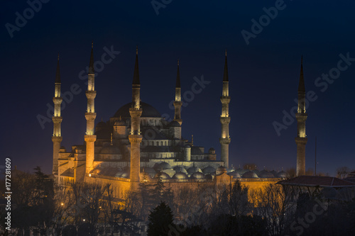 The Blue Mosque at night in Istanbul Turkey Poster