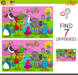 spot differences game with birds characters - 177287693
