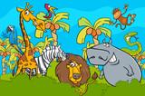 cartoon safari wild animal characters group - 177288205