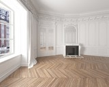 Interior of an empty elegant room with white walls - 177289487