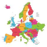 Europakarte in Grenzen mit Beschriftung