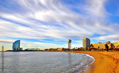 Foto op Canvas Barcelona Scenic view of the beach of Barcelona