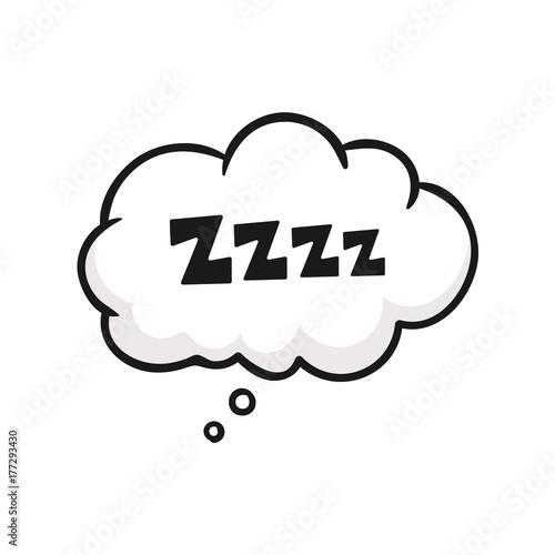 Sleep comic bubble zzz. Sleeping bubble icon. Vector stock.  - 177293430