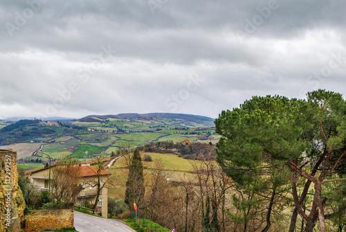 Fridge magnet view of the surroundings of Pienza, Italy