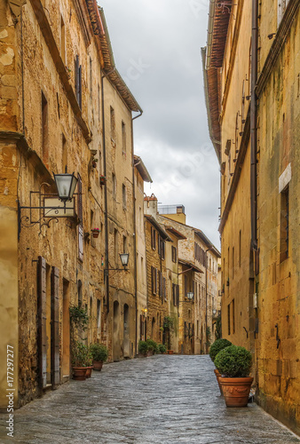 Poster street in Pienza, Italy