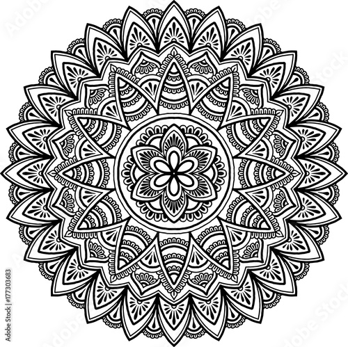Mandala pattern black and white Poster