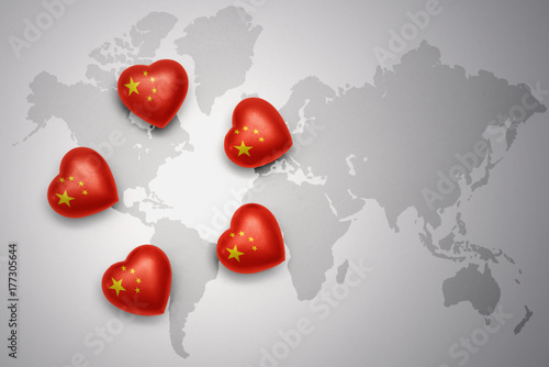 Foto op Plexiglas Peking five hearts with national flag of china on a world map background.