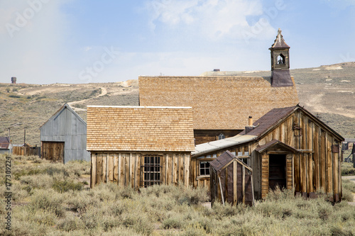 Abandoned buildings at Bodie in California Poster