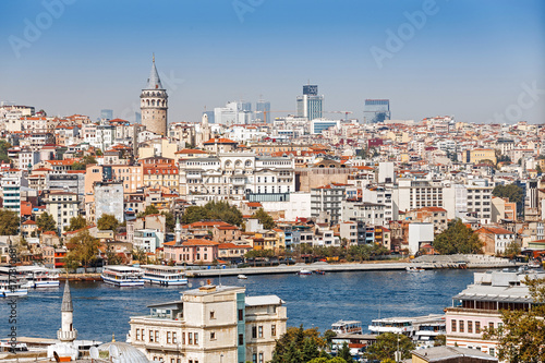 Far away tele view of a Galata tower district with various buildings, classical Poster