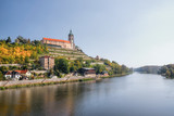Melnik Lock on top over european river Labe in autumnal czech landscape - 177317047
