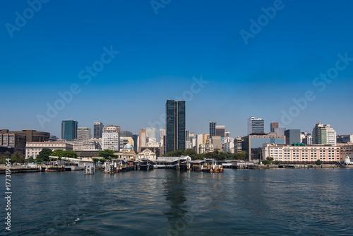 Rio de Janeiro Downtown Skyline with Clear Blue Sky