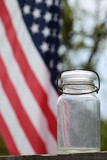 antique canning jar with the American flag - 177323233