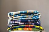 Stack of woolen chec...