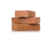 Solid clay bricks used for construction,Old red brick isolated on white background. Object isolated