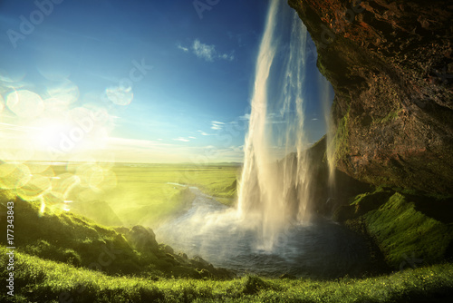 Seljalandfoss waterfall in summer time, Iceland - 177343843
