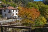 Autumn Landscape with old houses in town of Shiroka Laka, Smolyan Region, Bulgaria - 177344632