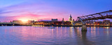 Illuminated London, view over Thames river from South Bank Ennbankment at sunset
